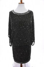 NWT Jkara Beaded Blouson Kimono Sleeve Short Cocktail Dress Sequin Slate Sz 12