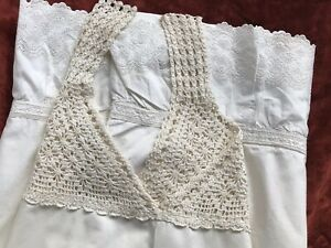 Edwardian Victorian Nightgown Crochet Lace Broderie Anglaise Vintage Linen Whote