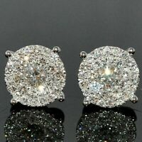 3.50Ct Round Attractive Cut Diamond Cluster Stud Earring 14K White Gold Finish
