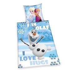 Linge de lit LISSE Disney Frozen Ice Queen Olaf Anna Kristoff 135 x 200 NOUVEAU