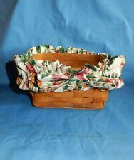 Vintage 1991 Longaberger Basket w Floral Outer Ruffle Trim