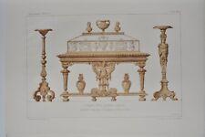 AM008 Lithographie originale Vitrine style Renaissance aménagement mobilier