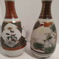 "(2) Vintage Oriental Porcelain Bud Vases Hand Painted Japanese/Chinese 7"" x 4"""