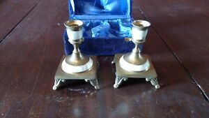 Mother of Pearl Brass Candlesticks Set of 2 in custom case vintage candle stick