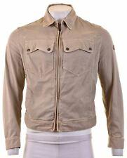 TRUSSARDI Mens Harrington Jacket Size 42 XL Beige Cotton Slim  HB19