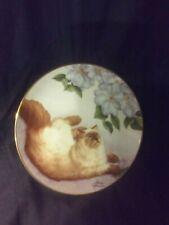 "Irene Spencer 8""Wide Cat Plate ""Bird's Eye View"" Danbury Mint 1989,Cat/Flowers"