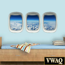 VWAQ Plane Window Decals Airplane Porthole Snowy Mountain Wall Stickers Aviation