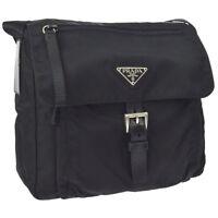 ccf70a9a4116 Auth PRADA Logos Cross Body Shoulder Bag Black Nylon Leather AK28213