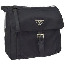 05d4dcdfd19bf Auth PRADA Logos Cross Body Shoulder Bag Black Nylon Leather AK28213