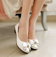 New Bowknot Slip On Low Heel Casual Womens Pumps Shoes Date OL Dress Flat Shoes