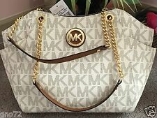 NEW MICHAEL KORS  MK SIGNATURE VANILLA  JET SET TRAVEL CHAIN SHOULDER TOTE  BAG