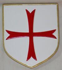 Petit Blason mural Croix Templière pierre émaillée  - déco Moyen Age