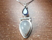 Faceted Iolite and Moonstone Teardrop 925 Sterling Silver Pendant
