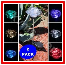 2 Pack Solar Powered Exquisite Rose Flower Garden Stake Pathway Lawn Led