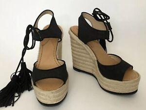 Paul Andrew Women Shoes Size 39 NIB Wedges Black Tianjin Espa Linen Canvas