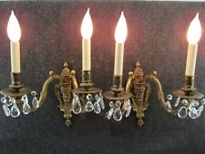 Gorgeous Pair Brass & Crystal Figural Electric Sconces