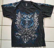 Route 66 Premium Graphic Black Blue Pate Cross Anchor T-shirt Unisex Medium (M)