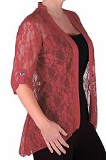 Womens 3/4 Sleeve Lace Mesh Casual Plus Size Floral Open Front Jersey Cardigan