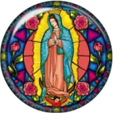 Snap button Stain glass look Virgin Mary 18mm Cabochon chunk charm