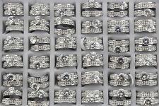 32pcs Job Lots Wedding Engagement Rhinestone 2 in 1 Stainless Steel Rings AH530