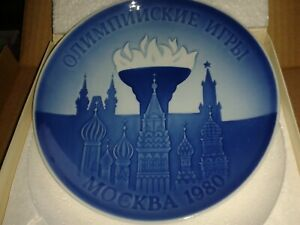 """SUPER QUALITY BOXED BING & GRONDAHL 7"""" PLATE BLUE WHITE 1980 MOSCOW OLYMPICS"""