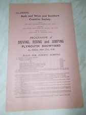 A 1938 Programme Of Driving, Riding & Jumping @ Plymouth Showyard 27/5/1938