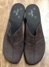 PREOWNED CLARKS BROWN SUEDE LEATHER MULE SHOE SIZE 9 1/2