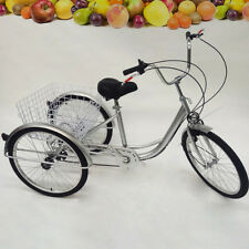 "NEW Cruise Basket 24"" 3 Wheel Tricycle 6-Speed Bicycle Trike  Backrest + lamp UK"