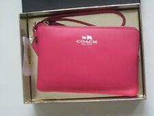 New Coach 54440B Smooth Leather Corner Zip Wristlet Wallet Amaranth Pink Boxed