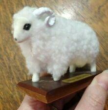 Wooly Long Horned Sheep Figure Souvenir Auckland New Zealand On Stand Ec