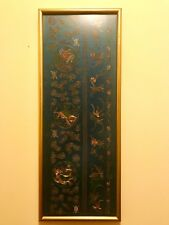 FINE ANTIQUE CHINESE EMBROIDERED SILK PANEL FRAMED EMBROIDERY