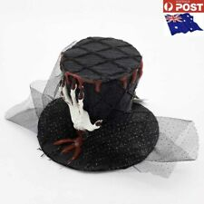 Halloween Black Mini Witch Hat with Bloody hand Costume Party Accessory-AU