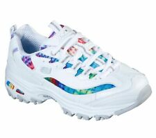 SKECHERS D'LITES - SUMMER FIESTA, Sneakers Woman White/Multicolor, Casual, Donna