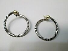 David Yurman 18K Gold & Sterling Silver Cable Hoop Post Earrings