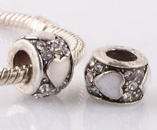 2p silver love White LAMPWORK CZ spacer beads fit Charm European Bracelet #C972