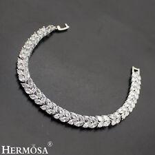 "New Designer Hermosa® Leaf Shape 925 Sterling Silver White Topaz Bracelet 7"""