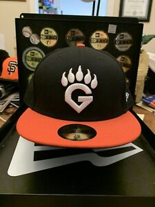 "Fresno Grizzlies New Era 59FIFTY ""G Paw Logo"" Hat Size 7-7/8 Orange and Black"
