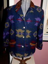 VINTAGE WOOLRICH WOMAN'S AZTEC, NATIVE AMERICAN DESIGN COAT, BLUE, PURPLE, RED
