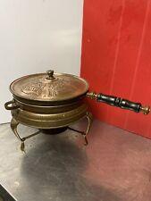 Vintage Middle Eastern Copper Brass Wood Handle Fondue Pot 4 Piece Fondue Set