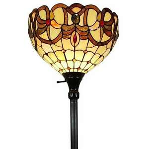 """Tiffany Style Torchiere Floor Lamp Brown Yellow Stained Glass Shade 72"""" High"""