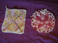 Lot of 2 Vintage Hand Crocheted Hot Pads Pot Holders 1960s Yellow Pink Red White