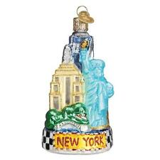NEW YORK CITY STATUE OF LIBERTY OLD WORLD CHRISTMAS GLASS ORNAMENT NWT 20083