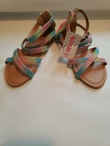 Kensie Girl Brand Fashion Studded Gladiator Sandals size 1 rainbow rhinestones