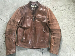 Roland Sands Ronin Mens Leather Motorcycle Jacket S tobacco color