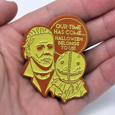 More details for halloween michael myers and trick 'r treat sam horror enamel pin, orange variant