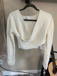 Revolve by the way Mary Lurex Wrap Sweater Champagne Size Large
