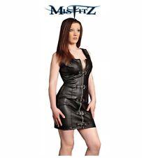 Misfitz sexy black leather look buckle dress+ choker size 18 Goth Punk Rock TV