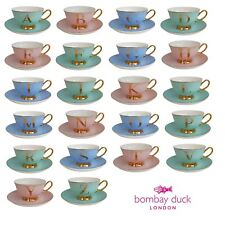Alphabet Teacup Spotty and Gold Tea Cup and Saucer for tea parties Bombay Duck