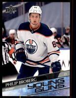 2020-21 UD Series 1 Base Young Guns #204 Philip Broberg RC - Edmonton Oilers