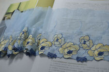 2YDS blue gauze yellow flower Embroidery Lace Trim DIY lace accessories fabrics